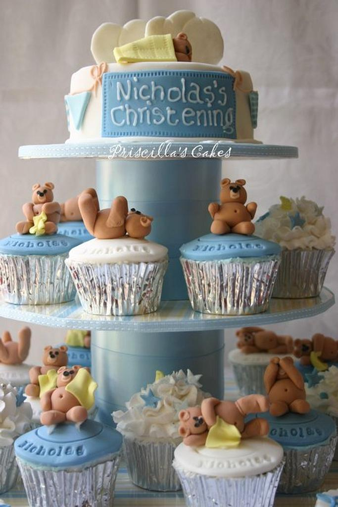 Christening cupcakes by Priscilla's Cakes