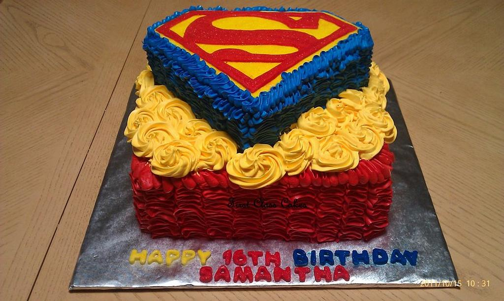 My 1st superman cake by First Class Cakes