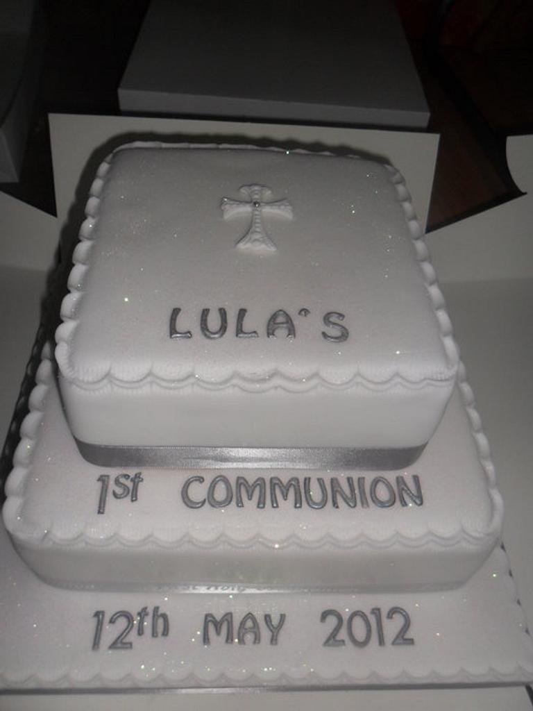2 tier first communion cake by elizabeth