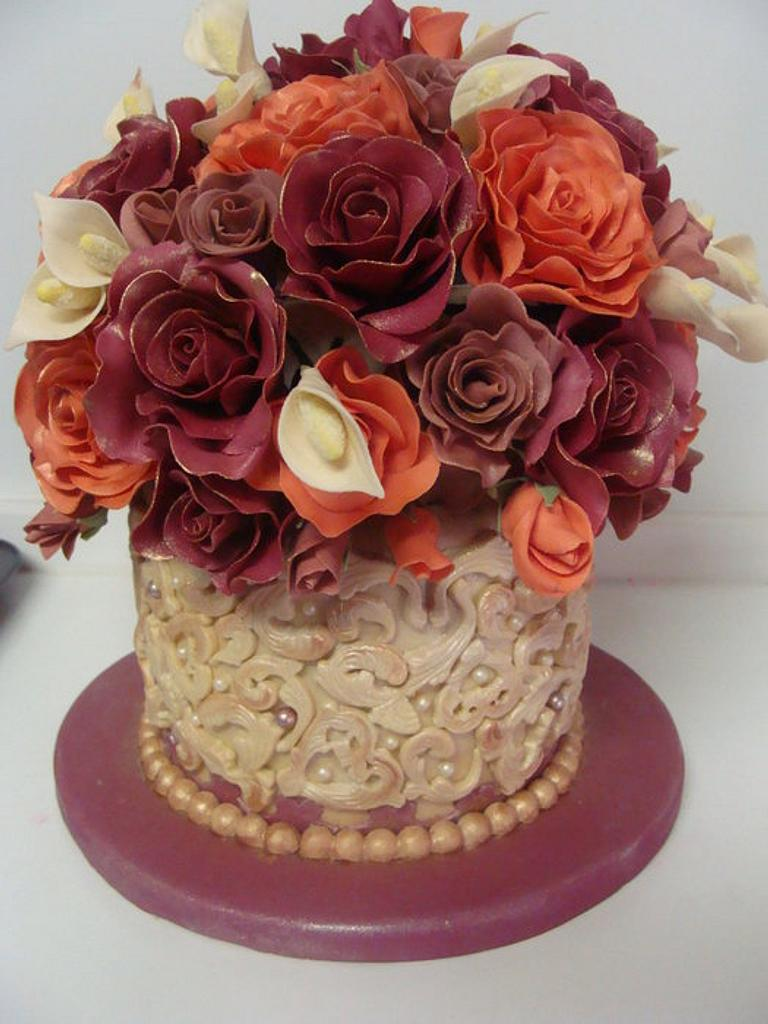 Ivory, Burgundy and Orange mini wedding cake  by liesel