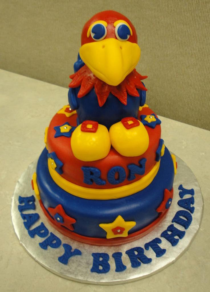 Ku Jayhawk Cake  by naughtyandnicecakes