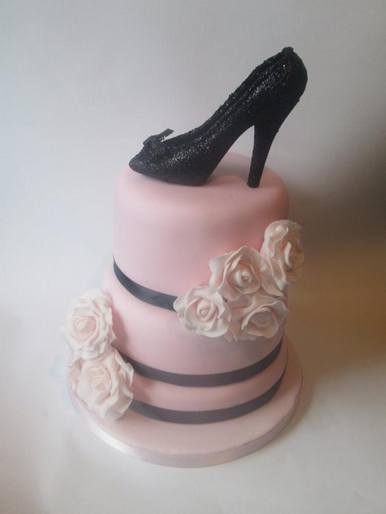 fifties inspired high heel and roses birthday cake by kelly