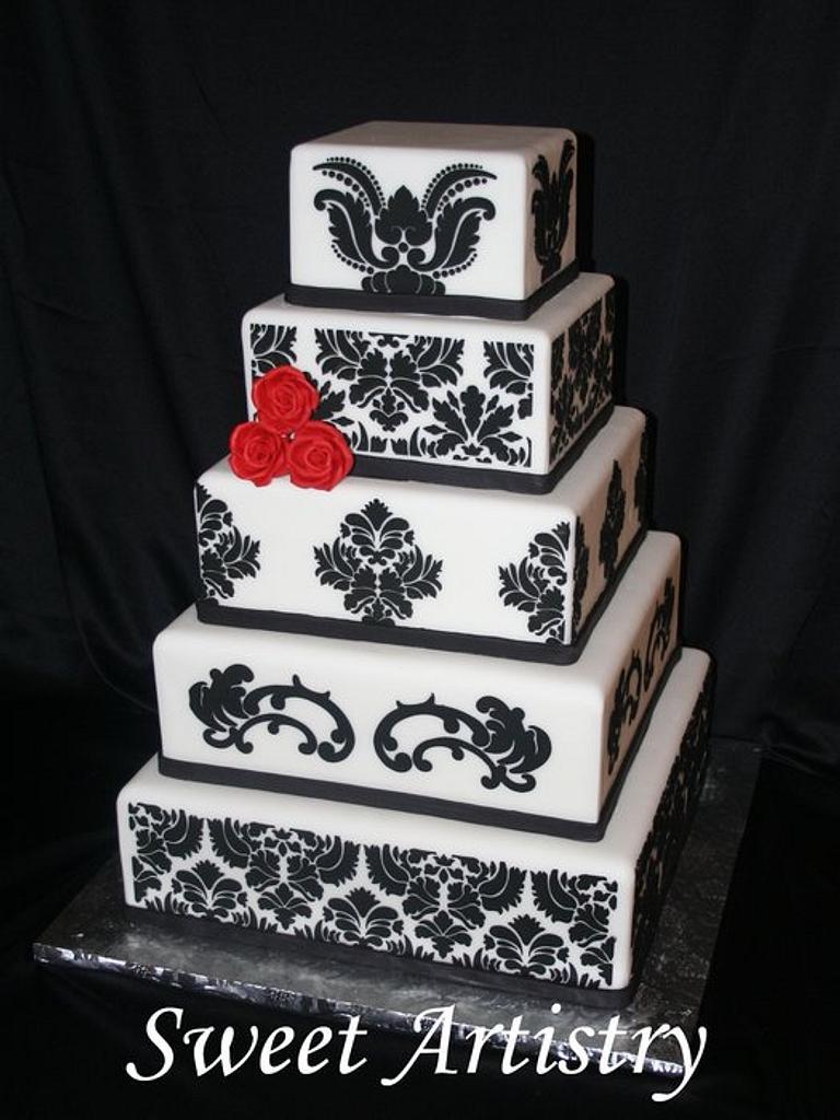 Damask Wedding Cake by SweetArtistry