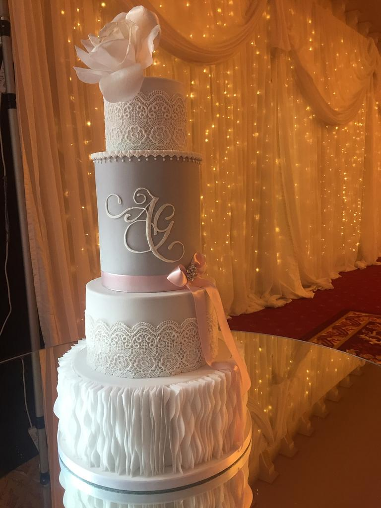 Modern vintage wedding cake  by Claire Lynch - Quirky Cake Designs