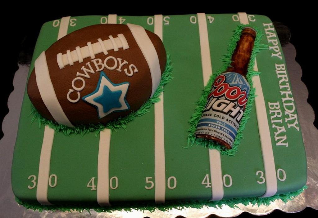 Football and Beer cake by Jewell Coleman