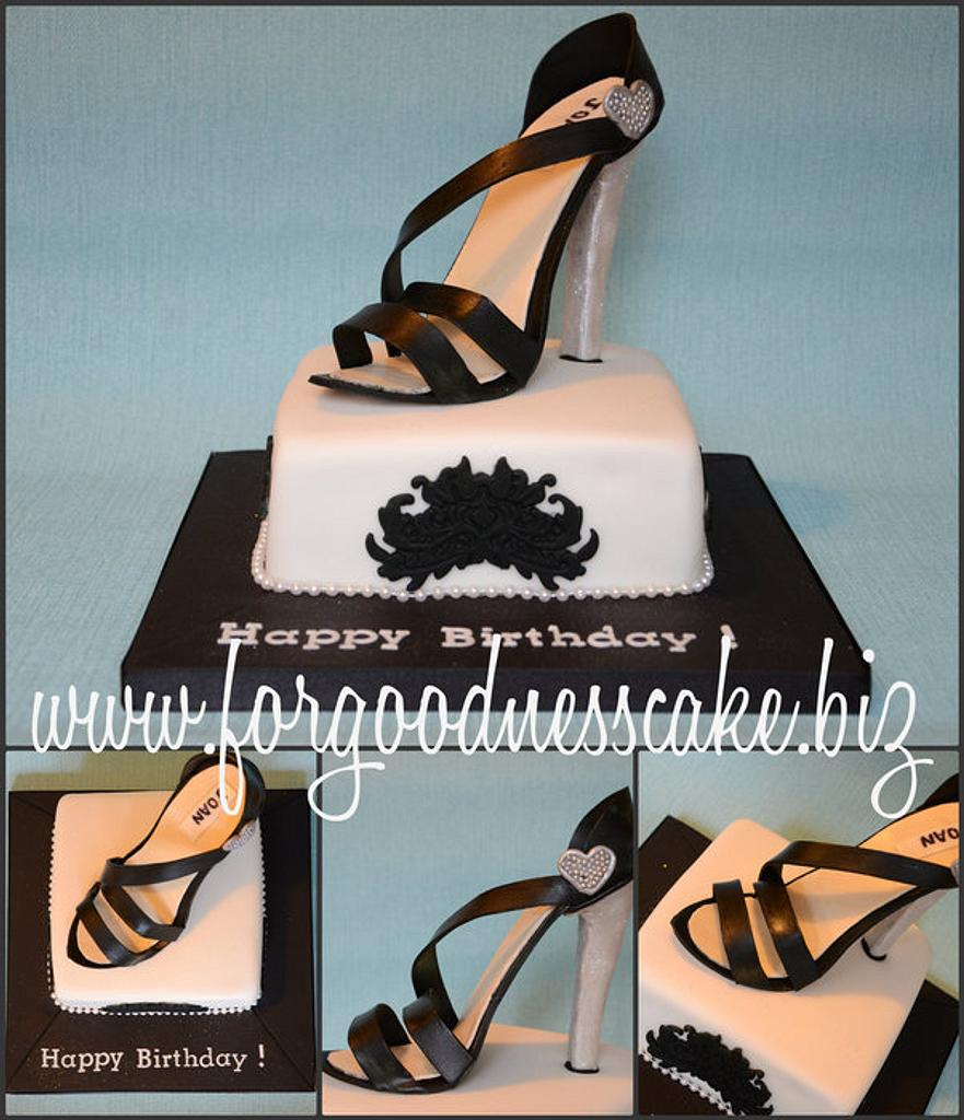 Black and White Cake with Sugar Sandal Topper by Forgoodnesscake