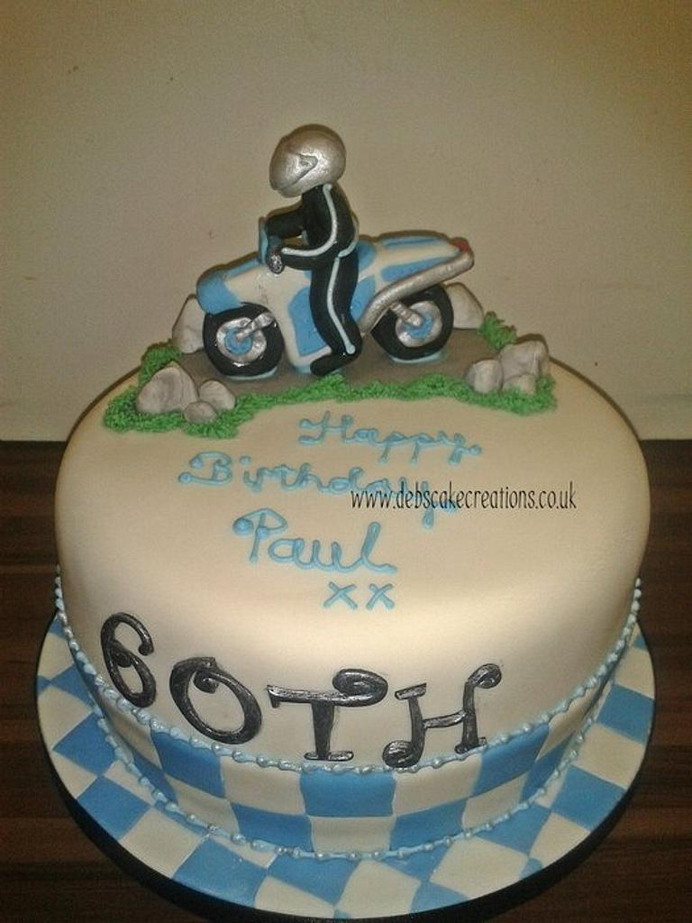 60th Motor Bike Cake by debscakecreations