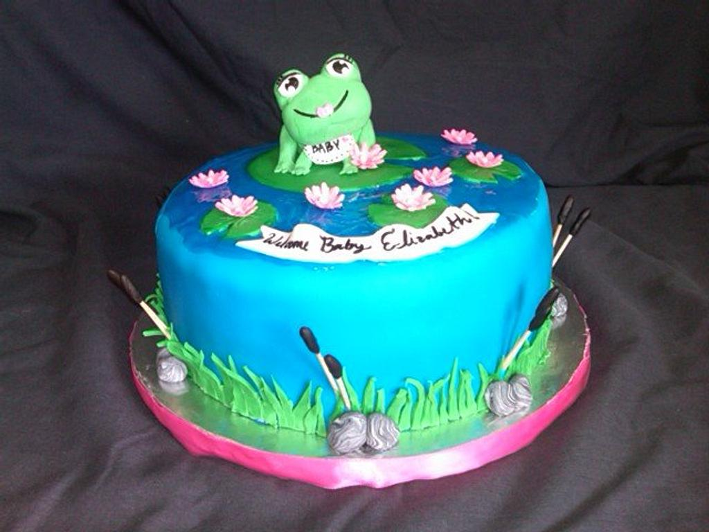 Baby Frog Cake  (its a girl) by Danielle
