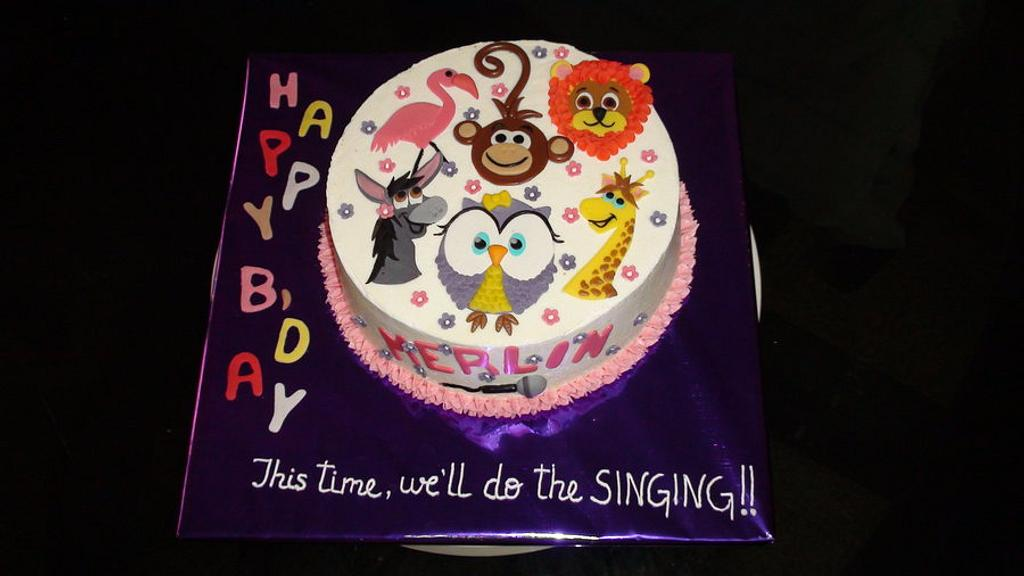 Cute Animals on a Cake!! by Marilyn mary