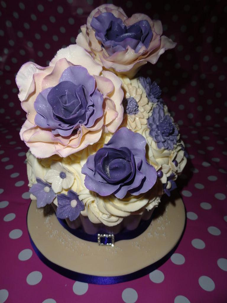 Purple/Ivory Giant Cupcake by rachelscreations13