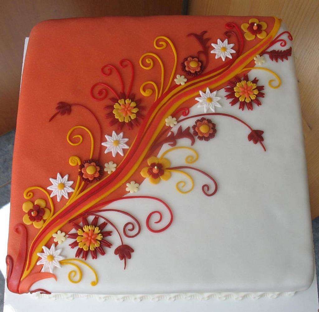White / orange ornament by Alena