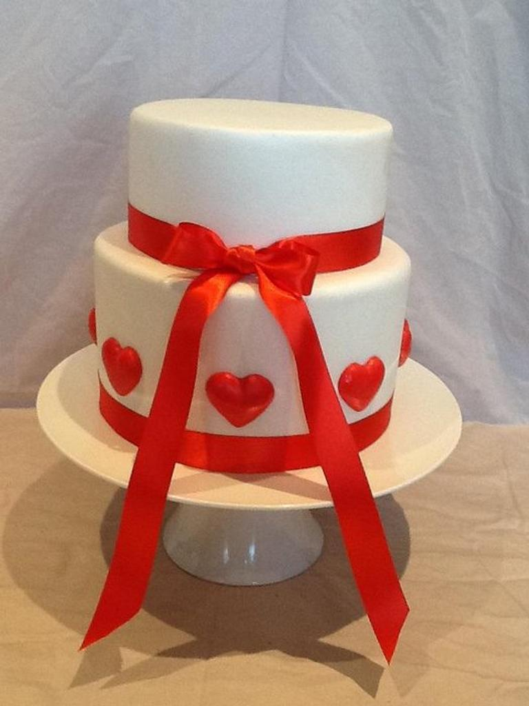 Red Hearts Engagement Cake by Kim Jury