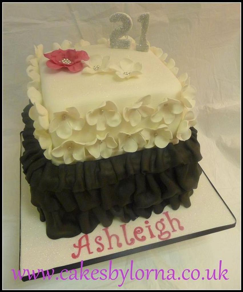 Black and White Floral and Ruffles Birthday Cake by Cakes by Lorna