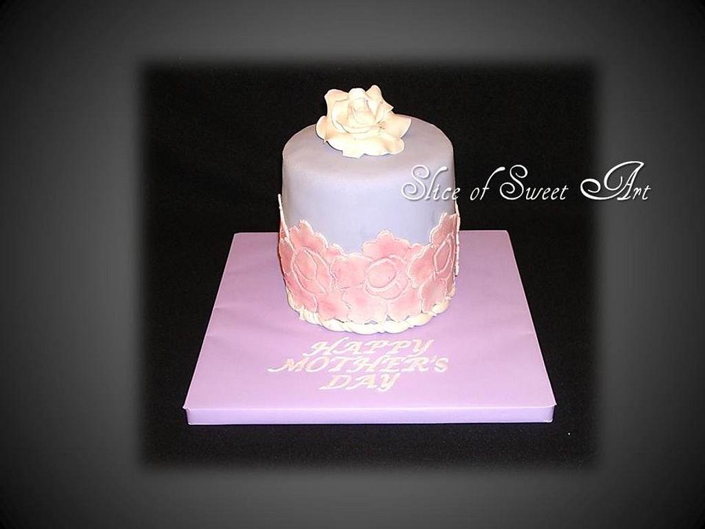 Rose Mother's Day Cake by Slice of Sweet Art
