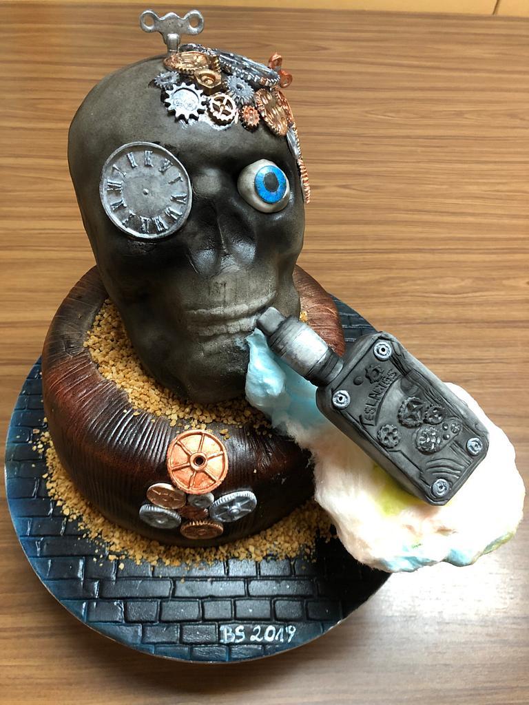Skull with e-cig by Birgit