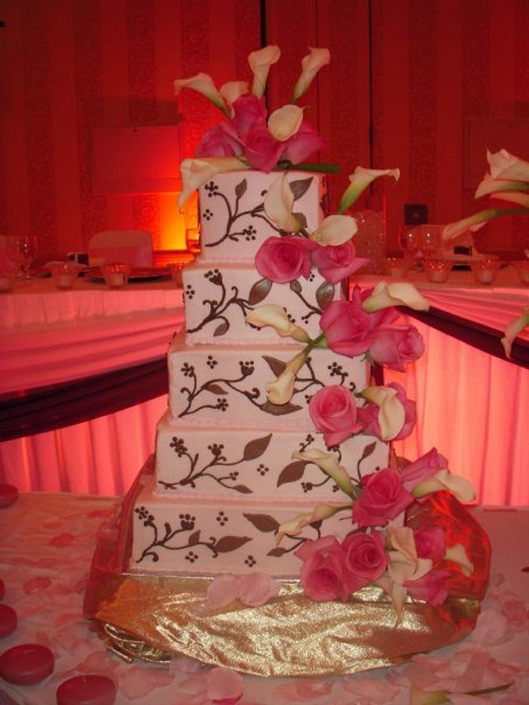 Pink and brown wedding cake by Michelle