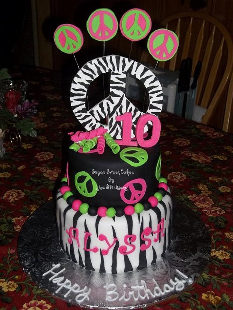 Peace Signs & Zebra by Sugar Sweet Cakes