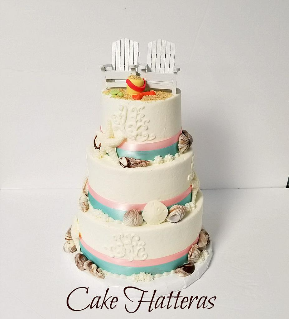 Beach Wedding Cake by Donna Tokazowski- Cake Hatteras, Hatteras N.C.