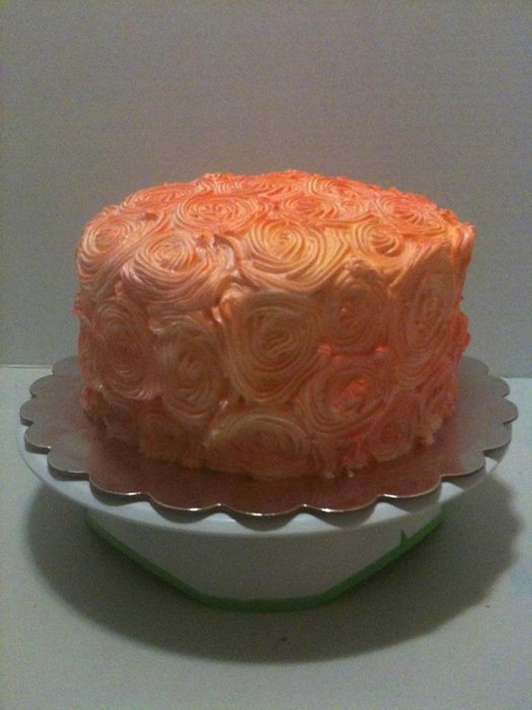 airbrushed rosette cake by Chasity