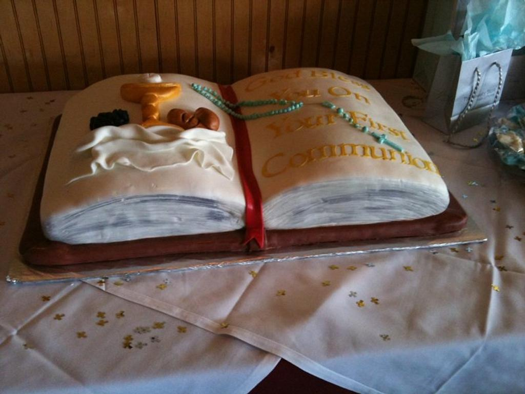 First Communion Cake by NumNumSweets