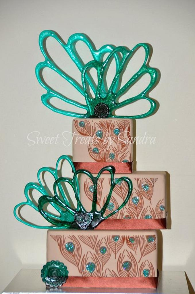 Peacock Cake with Isomalt Decorations by Sandra