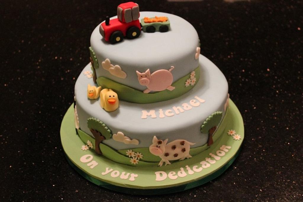 Farm animals dedication cake by Helen Campbell