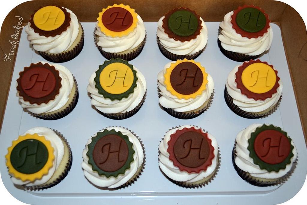 Fall colored monogram cupcake by Jamie Dixon
