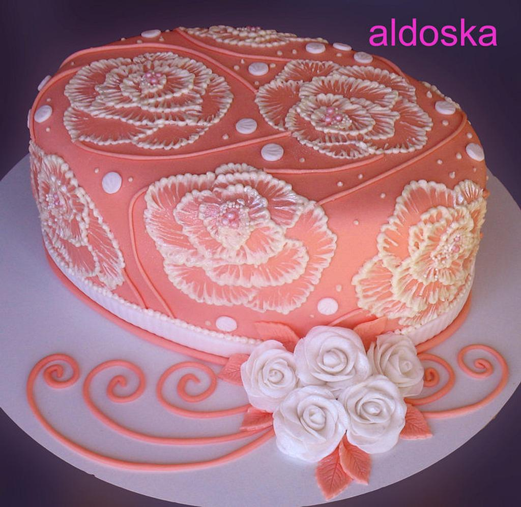 Orange oval with roses by Alena