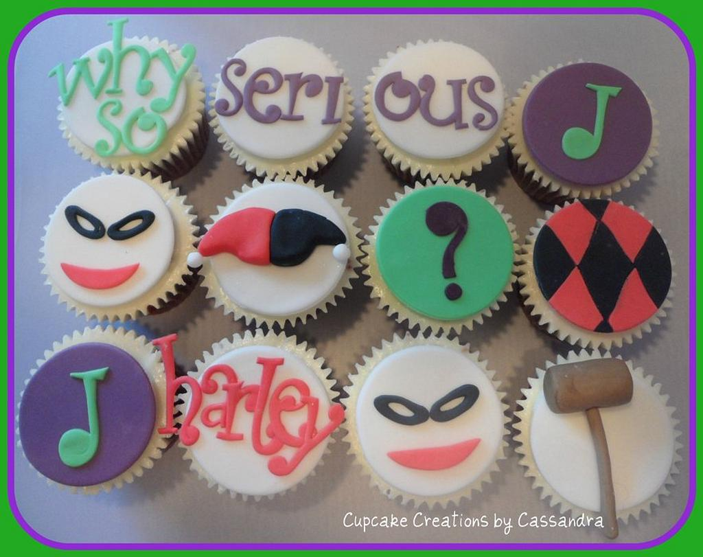 Joker & Harley Quinn Batman theme Cupcakes by Cupcakecreations