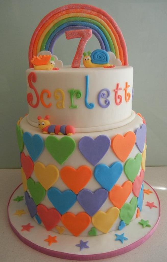 Rainbow Heart Cake by BlissfulCakeCreations