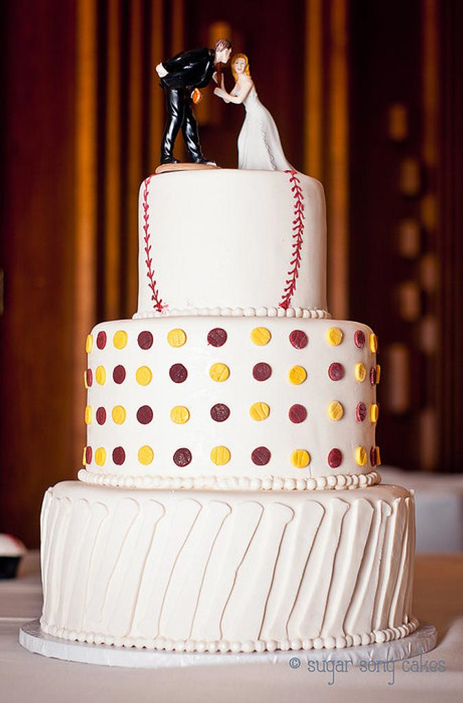 Baseball Wedding Cake  by lorieleann
