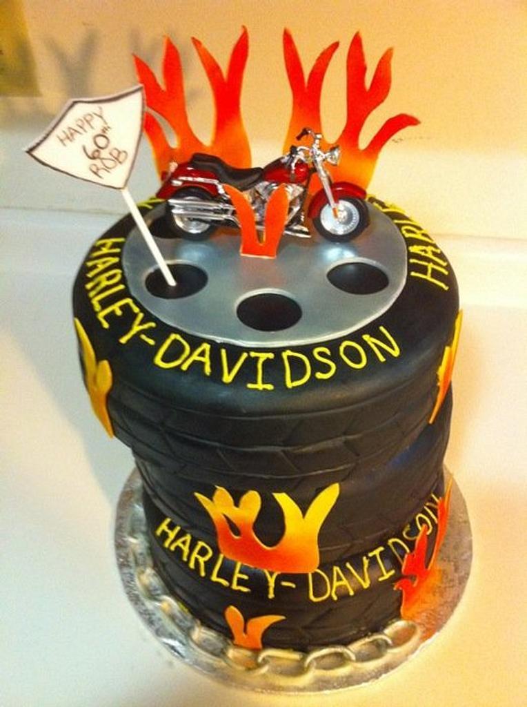 Harley Davidson Tire Cake  by Naly Cakes