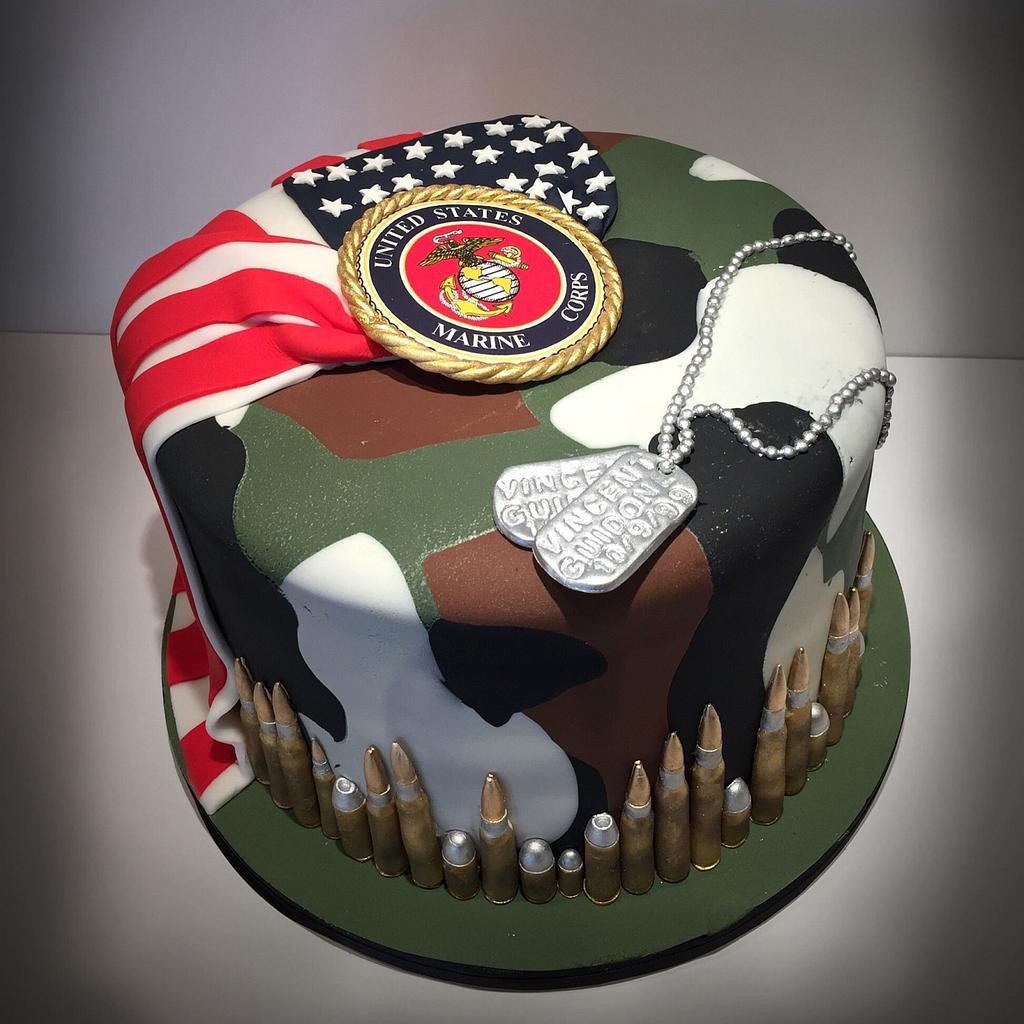 Marine/Camo/American Flag Birthday Cake by Dani