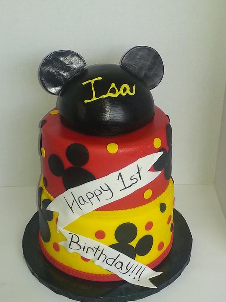 Mickey Mouse 1st Birthday Cake by Tomyka