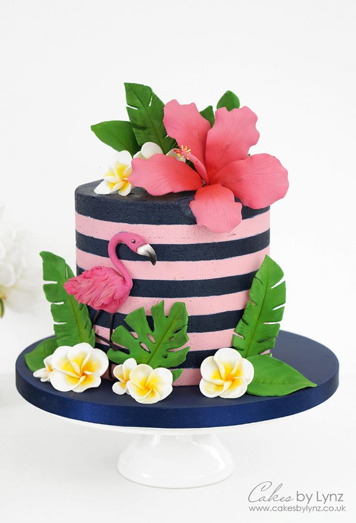 Tropical Flamingo Cake Tutorial with Buttercream Stripes by CakesbyLynz
