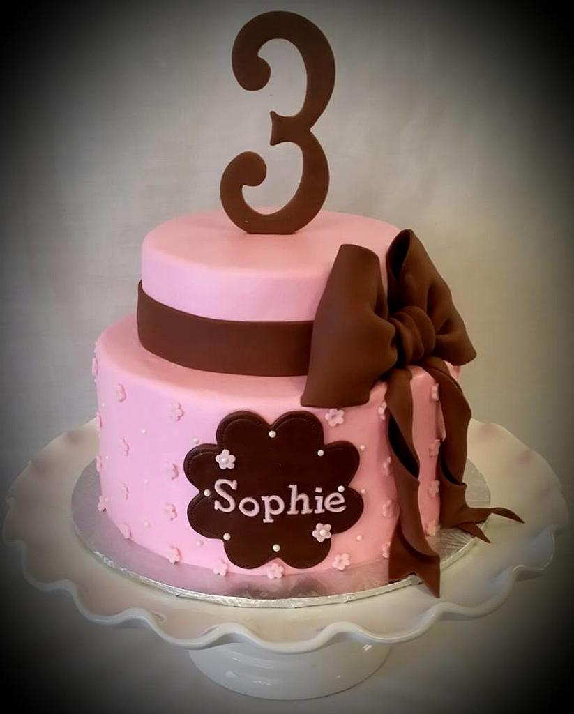 Pink and Chocolate birthday cake by Christie's Custom Creations(CCC)