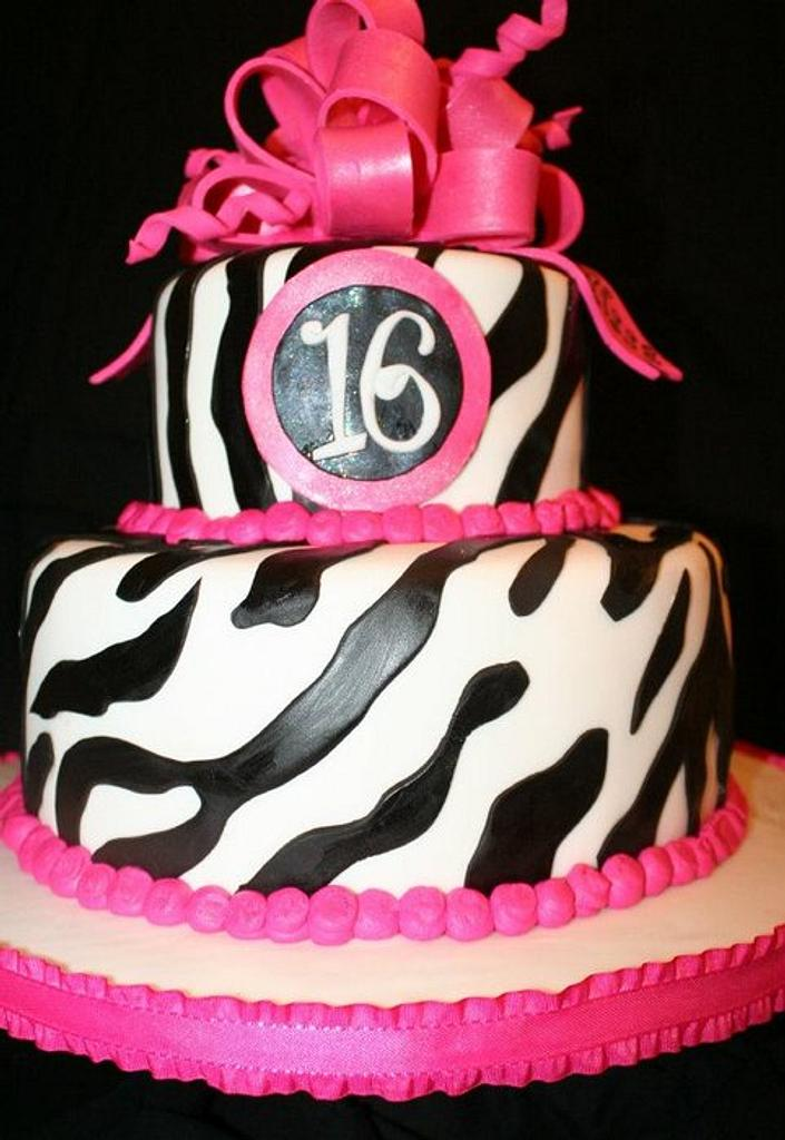 Zebra Stripes with Hot Pink Bow by CarolsCakeLab