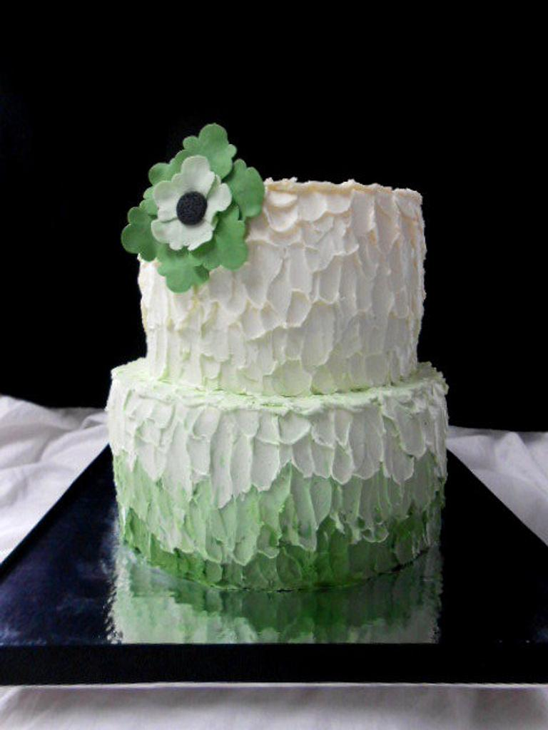 green ombre buttercream cake by heather369
