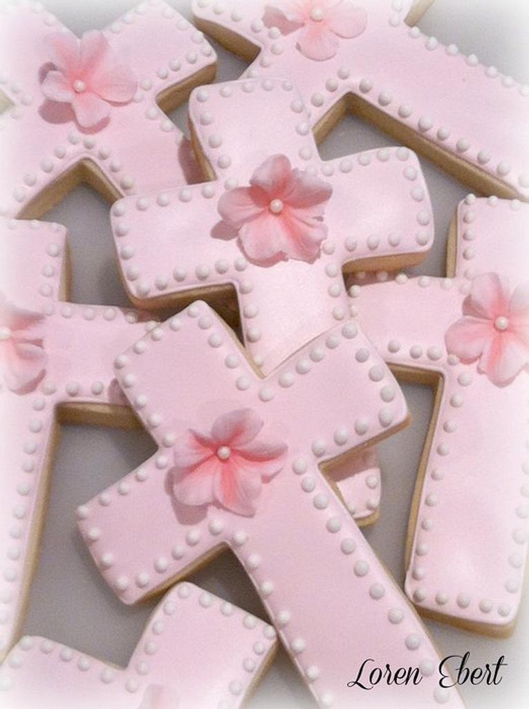Pink Petunia Cross Cookies! by Loren Ebert