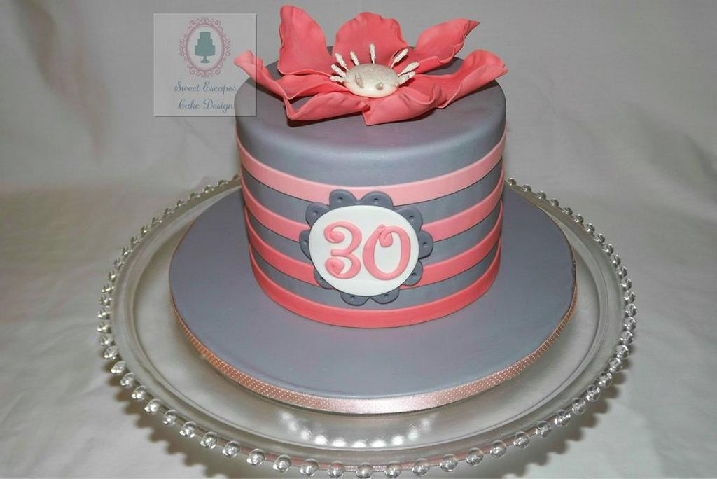 Pink & Gray Ombre Striped Cake by Lindsey Ramirez Buehner