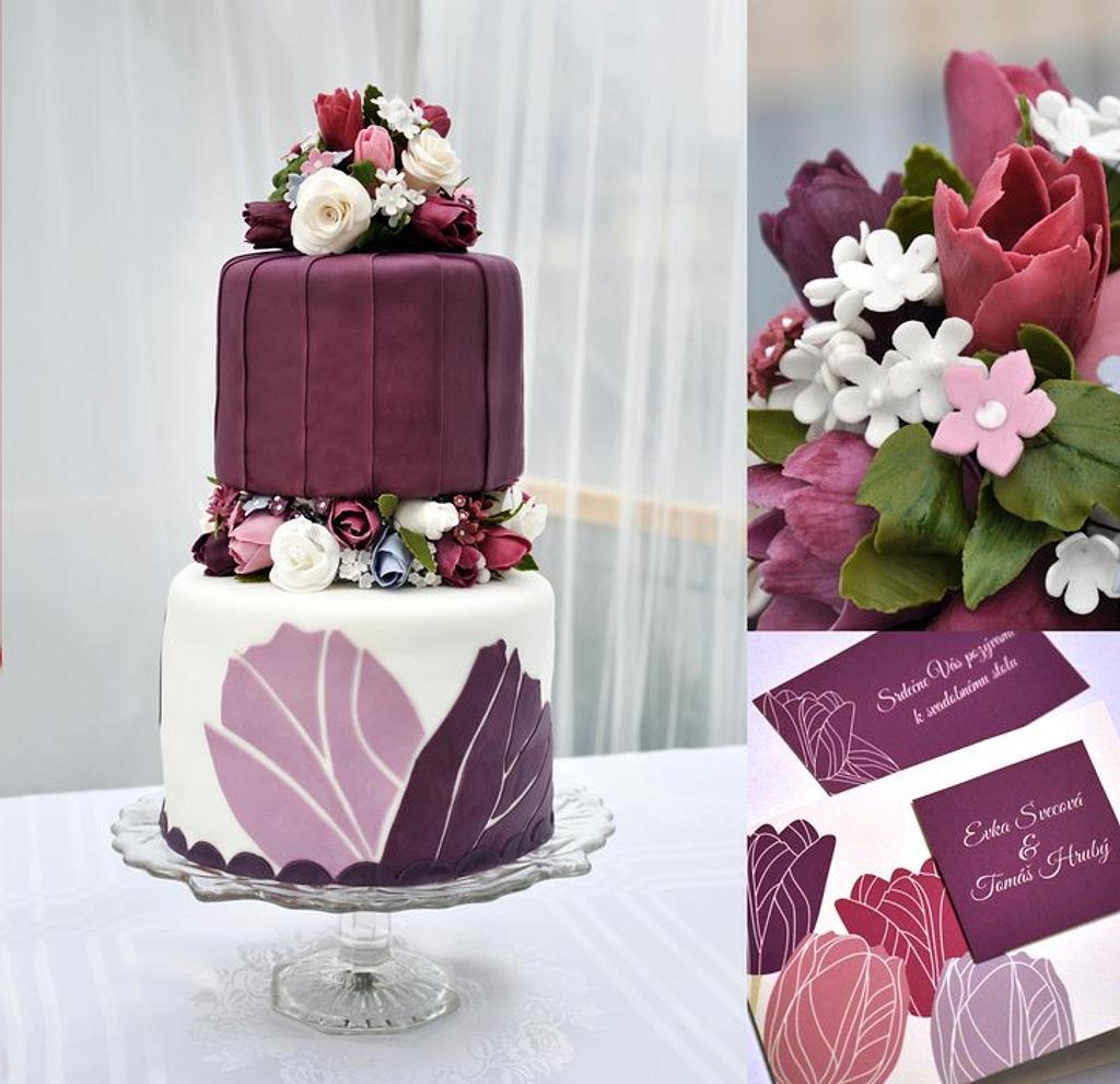 Wedding cake - tulips by Beba