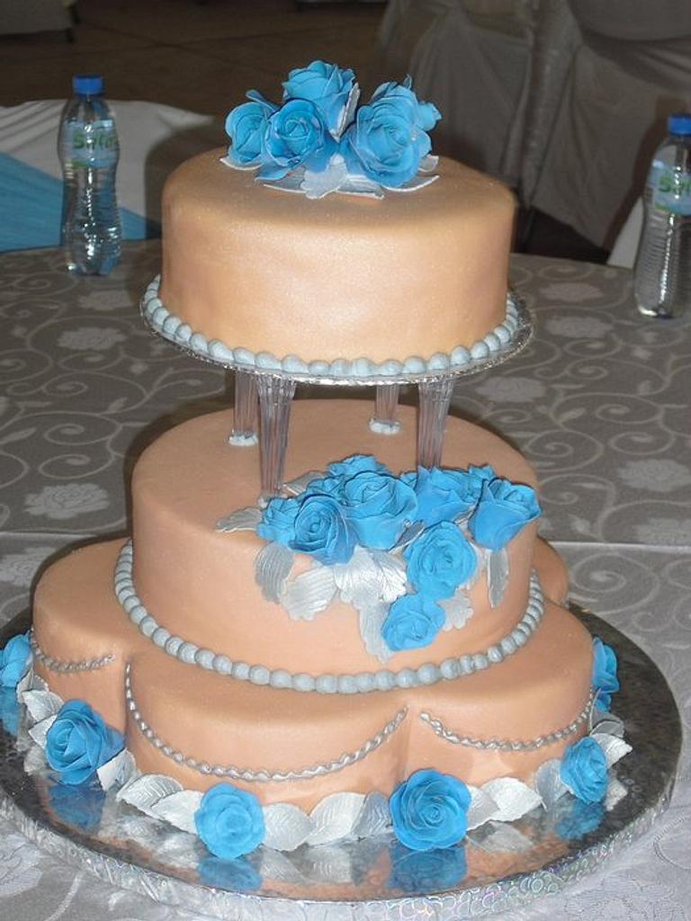 Peach and turquoise wedding cake by SerwaPona