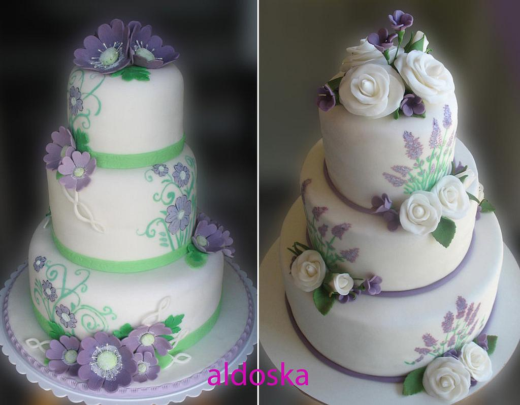White, lavender and green by Alena