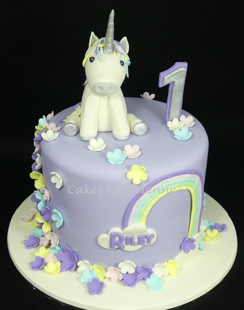 Unicorn 1st Birthday Cake by Cakes by Vivienne