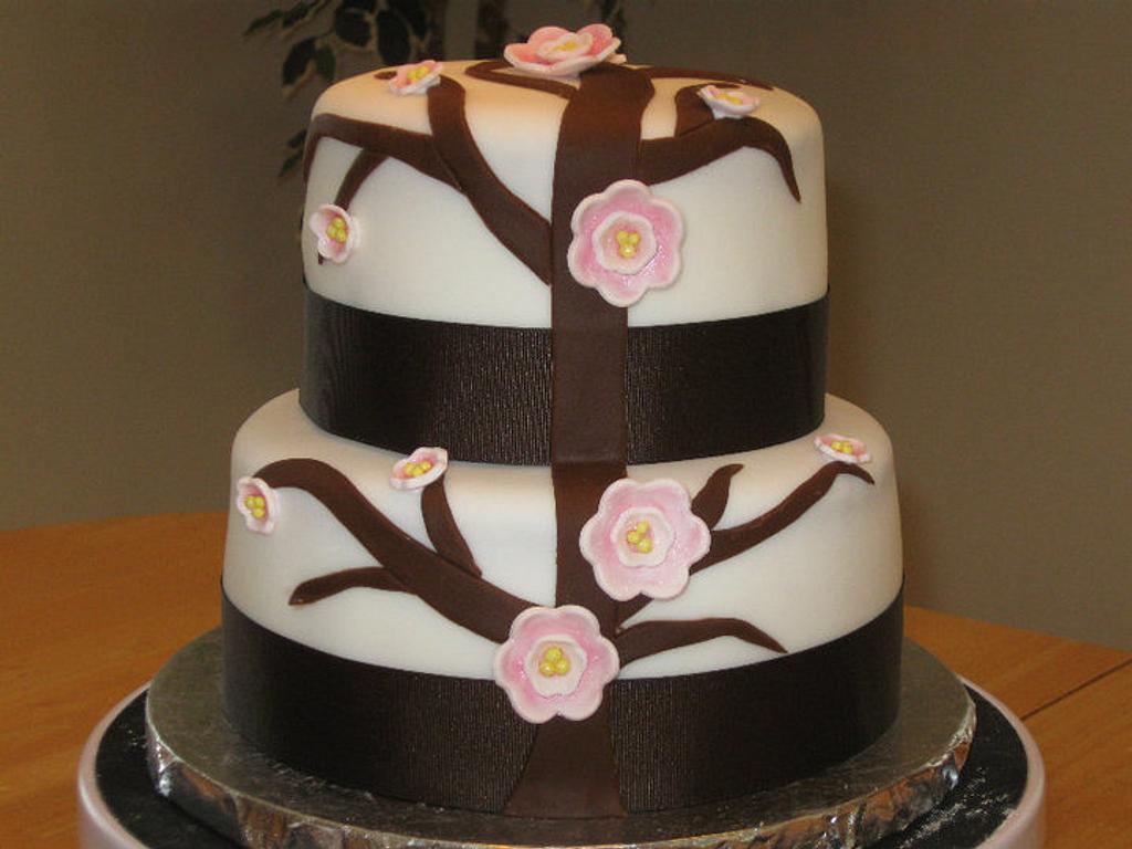 Cherry Blossom Bridal Shower Cake by Becky Pendergraft