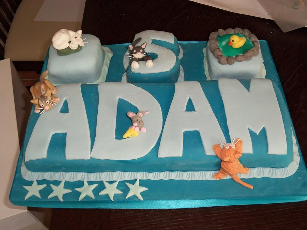 Name cake, cats, mouse and duck! by Helen