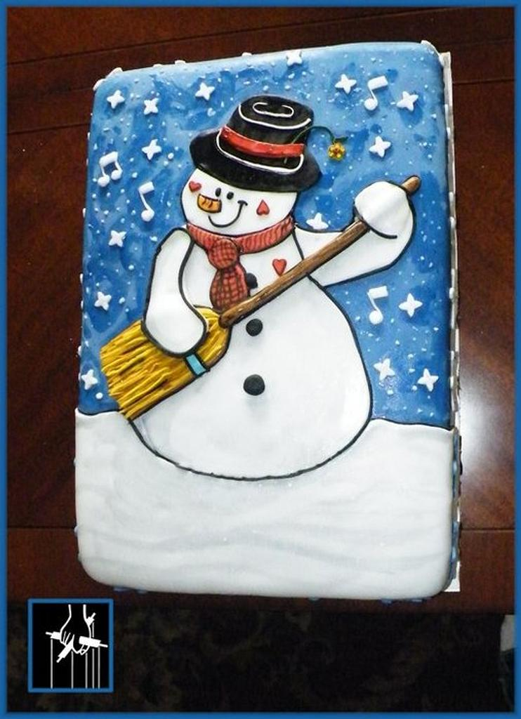 THE SNOWMAN PLAYING A BROOM STICK GUITAR CAKE by TheCakeDon