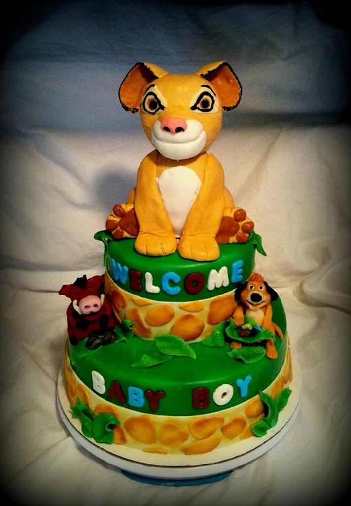 Lion King Themed Baby Shower Cake by Angel Rushing