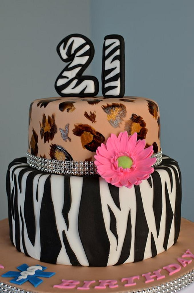 Zebra and leopard print cake by Hello, Sugar!