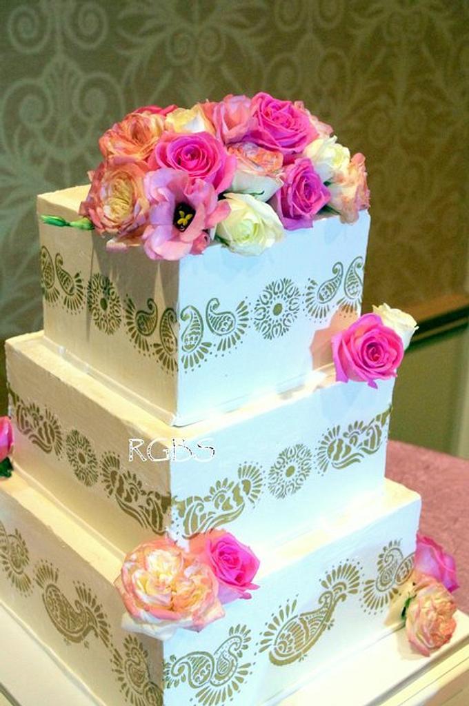 Henna/Mehndi Design Wedding Cake by Maria @ RooneyGirl BakeShop